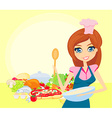 Beautiful lady cooking vector image vector image