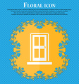 Door icon sign Floral flat design on a blue vector image vector image