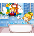 Girl daydreaming in the bathtub vector image