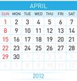 april calendar vector image vector image