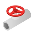 Pipe with a red valve isometric 3d icon vector image