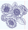 doodle bouquet of sunflowers vector image vector image