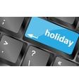 Computer keyboard with holiday key - social vector image