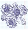 doodle bouquet of sunflowers vector image