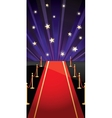 background with red carpet and stars vector image vector image