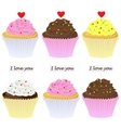 set of cupcakes vector image