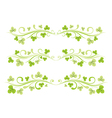 Set of horizontal borders with clover leaves vector image vector image