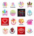 large set of logos fireworks vector image vector image
