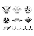 Vintage airplane labels emblems and vector image