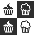 black cupcake icons set vector image