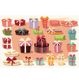 Collection of colorful gift boxes bows and ribbons vector image