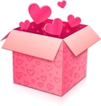 Ornate open box with rose paper hearts inside vector image
