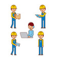 set of logistic worker people delivery postmail vector image