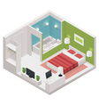 isometric hotel room icon vector image vector image