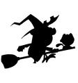 Witch silhouette cartoon vector image