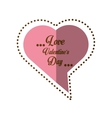 love valentines day card heart shape bubble shadow vector image