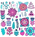 Set of flowers graphic collection vector image