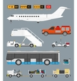 Airport set with baggage cart vector image