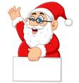 santa waving and holding blank sign vector image