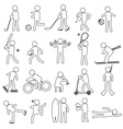 sport silhouettes black simple outline icons set vector image