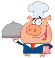 Happy Waiter Pig In A Chefs Hat vector image vector image