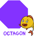 octagon shape with cartoon fish vector image vector image