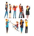 different happy people taking selfie photo cartoon vector image