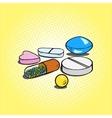 Pills hand drawn pop art style vector image