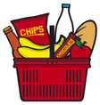 Shopping basket with produce vector image
