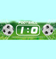soccer or football green banner with 3d ball and vector image