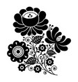 russian design folk art black and white flowers vector image
