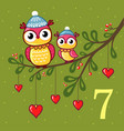 pair of cute owls sit on a branch vector image