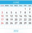 june calendar vector image vector image