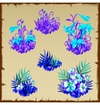 Big set fancy blue fairy flowers six items vector image vector image