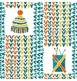 Pattern with knitting accessories and hat vector image