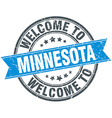 welcome to Minnesota blue round vintage stamp vector image