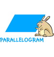 parallelogram shape with cartoon bunny vector image