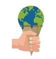 planet earth melting icon vector image