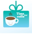 Coffee card with smiling cup of coffee vector image