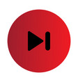 Flat black skip forward icon vector image