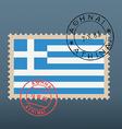 Greek flag stamp vector image