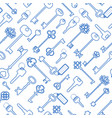 key seamless pattern in blue outline vector image