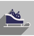 flat icon with long shadow sleigh gifts vector image