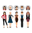 young woman in different style clothes vector image