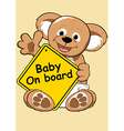 Baby on board sign with Teddy bear vector image