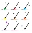 color paint brush and paint icons set eps10 vector image