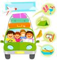 family vacation cartoons set vector image