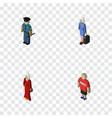 isometric human set of female guy hostess and vector image
