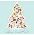 Stylized Christmas tree with xmas toys vector image