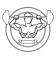 contour circular border with muscle man lifting a vector image